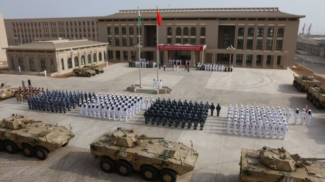 Chinese People's Liberation Army personnel attend the opening ceremony of China's new military base in Djibouti, Aug. 1, 2017.